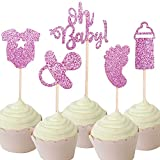 30-Pack Glitter Pink Baby Girl Baby Shower Cupcake Toppers Cake Toppers, Pink Oh Baby Onesie Bottle Foot Print Nipple Cupcake Toppers for It's A Girl Baby Shower Party Decoration Supplies