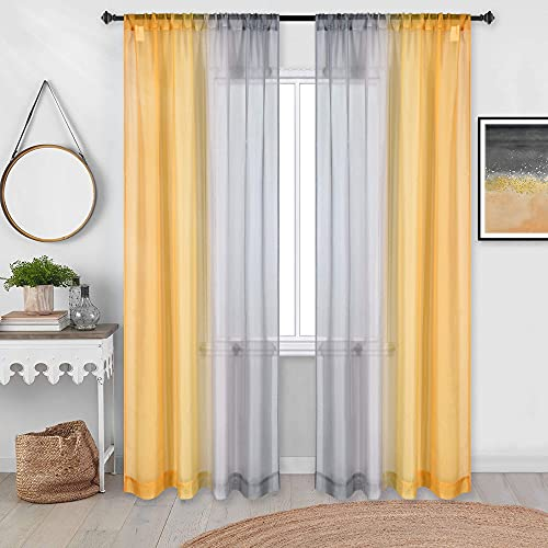 Mustard Yellow and Gray Curtains 84 Inches Length for Living Room Set of 2 Panels Rod Pocket Ombre Window Elegant Curtains for Dining Bedroom Decor 52 x 84 Inch Length Gradient Yellow and Grey
