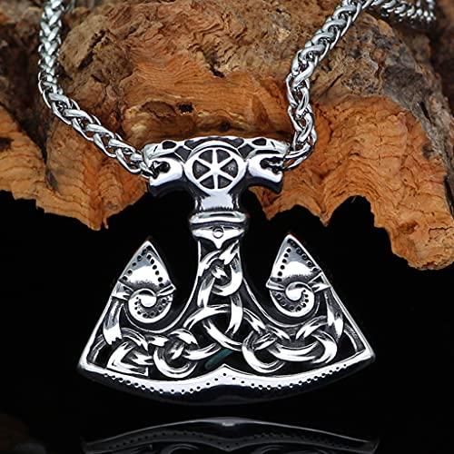 Collar de Vikingo Acero Titanio Sólido Nórdico, Hombres Punk Vintage Fenrir Lobo Amuleto Joyería Étnica Thor's Hammer Colgante,50cm Chain