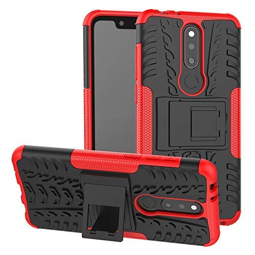 LFDZ Nokia 5.1 Plus 2018 Tasche, Hülle Abdeckung Cover schutzhülle Tough Strong Rugged Shock Proof Heavy Duty Hülle Für Nokia 5.1 Plus 2018 / Nokia X5 Smartphone (mit 4in1 Geschenk verpackt),Rot
