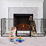 MOLANEPHY Fireplace Fence, 118 Inch Fireplace Safety Gate, 5-Panel Baby Safety Gate Metal Indoor Safety Guard for Baby Pet Fireplace BBQ Protection
