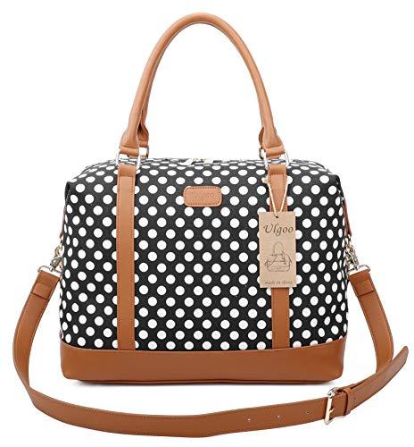 Ulgoo Women Travel Tote Bag Carry On Shoulder Bag Overnight Weekender Duffel in Trolley Handle (Black & White Polka Dot)