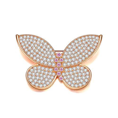 Italina Moda Spilla Farfalla Regali delle Donne Spille a Forma di Farfalla Oro Rosa Placcato Dimensione 3.6 * 5.3cm