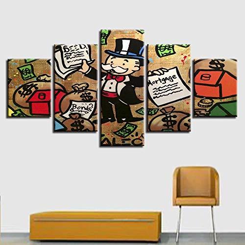 GZSBYJSWZ Póster Modular Impreso en HD, 5 Piezas, Bolsa de Dinero para Hombre de Dibujos Animados y Pintura de Letras, decoración artística, Cuadro de Pared para Sala de Estar
