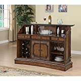 Traditional Brown Ornate Bar Unit Black Marble Metal Wood Finish Includes Hardware