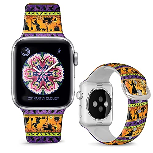 DOO UC Halloween Floral Silicone Watch Bands Compatible with Apple Watch 38mm/40mm for Women Men ,Halloween Witch Silicone Fadeless Pattern Printed Replacement Strap for iWatch Series 6 5 4 3 2 1