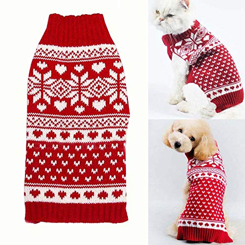 Bolbove Pet Red Snowflake Turtleneck Sweater for Small Dogs...