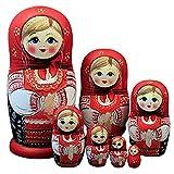 zdz Matryoshka Hecha a Mano de Madera, 6.3 Pulgadas Conjunto de 7 muñecas de anidación Rusas de Juguete para niños de Alta Gama, para Navidad, Regalos de cumpleaños (Color : Red)