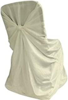 Elina Home V.C-Uni C C Pack of 10 Ivory Satin Universal Self Folding Chair Cover & Tie Back for Wedding Banquet Birthday Party Decor One Size