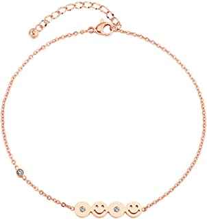 CXQ Fashion Temperament Anklet Smiley Rose Gold Foot Ring Jewelry Couple Accessories Gift