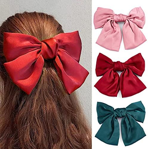 Genglass Bowknot Haarspangen Rote Schleife Clip Seidige Satinbandschleifen Craft Bows Große Haarschleifen-Clips für Damen und Mädchen (3 Stück)
