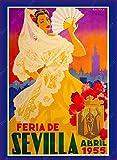 shuimanjinshan Spanien Andalusien Sevilla Vintage Reise Leinwand Gemälde Bilder Kraft Poster beschichtete Wandaufkleber Home Decoration Geschenk Leinwand 50x70cm F1