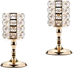 Fenteer 2 Pieces Crystal Votive Tealight Candlestick Wedding Centerpieces