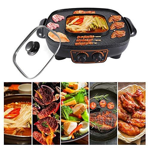 Jacksking Hot Pot, 1900W Multi-Funzione Pentola elettrica Cottura alla griglia Padella elettrica Piastra elettrica Cottura Padella Antiaderente Piastra riscaldante Fornello