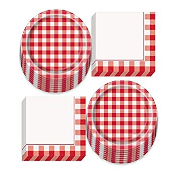Red and White Checkered Plaid Gingham Picnic Party Supplies for Backyard Barbeques and Cookouts  Red and White Checkered Gingham Picnic Party Paper Dinner Plates and Luncheon Napkins