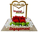 Large and attractive : Dimension - (30x30x20) 30CM width and 30CM length or 20 cm Hight. This engagement ring tray is perfectly sized to take Rose, Hanging Name USE: Specially made for engagement ring ceremony purpose Completely Handmade: This ring p...