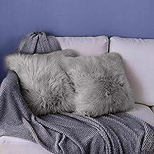 YDFYX Funda de cojín de sofá, Funda Almohada de Suave Piel sintética de Lana, Super Suave Lana de imitación Terciopelo Long Almohada Funda de Almohada (2Pcs Gris, 45X45 cm)