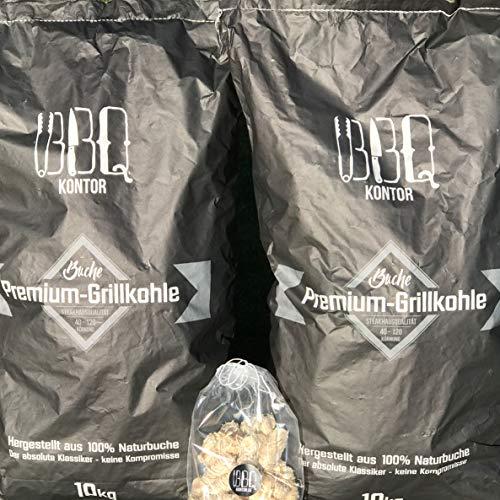 20kg (2x10kg) BBQKontor Premium Buchenholzkohle - 100{e6f7ffeef6c7362d0501c1dedf1d5b69b967b7b19c9ff2f416fb92e0de363c57} Naturbuche - Grillkohle Holzkohle Buche Buchengrillholzkohle in Steakhausqualität + 20 St. Anzünder
