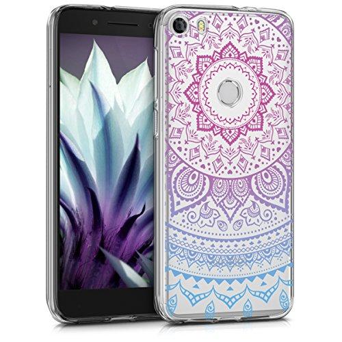kwmobile Hülle kompatibel mit Alcatel Idol 5 - Handyhülle - Handy Hülle Indische Sonne Blau Pink Transparent