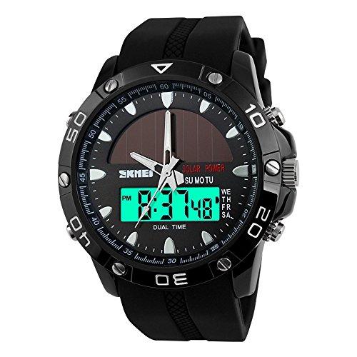 TONSHEN Herren LED Digitaluhr Sportuhr 50M Wasserdicht Solar Uhr Edelstahl mit Silikon Band Analogue Quarzuhr Militäri Tactical Armbanduhr für Männer