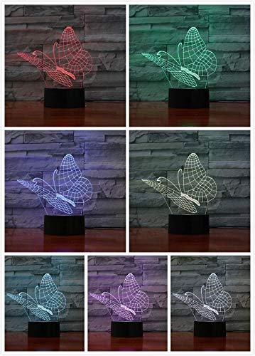 (Solo 1) Mariposa 3D Luz de noche LED Sensor táctil USB Animal Decoración Lámpara Niño Niño Regalo Visual Mariposa Lámpara de mesa Decoración de noche