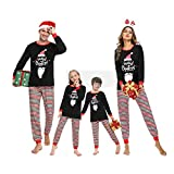 Irevial Pijamas de Navidad Familia Conjunto, Pijamas Navideños Invierno Manga Larga 2 Piezas, Navidad Ropa de Dormir Casa para Mujer Hombre Niños