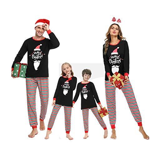 Irevial Pigiama Natale Famiglia Set, Pigiama Natalizio Due Pezzi con Stampa Barba del Cappello di Natale, Pigiami Famiglia Coordinati Invernali Manica Lunga per papà Mamma Bambini