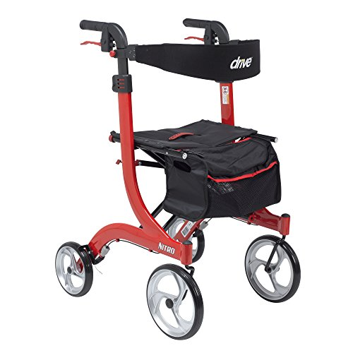 Drive Medical Nitro Euro Style Rollator Walker, Tall Height, Red
