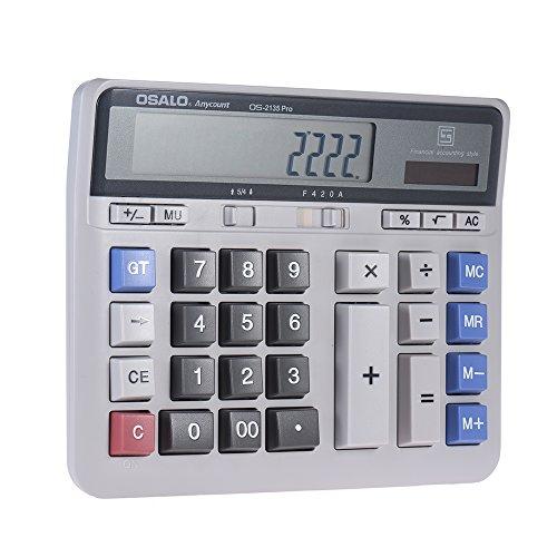 Aibecy Tischrechner Elektronische Taschenrechner Zähler Solar & Batterie Power 12-stelligem Display Multifunktions Big Button für Business Büro Schule