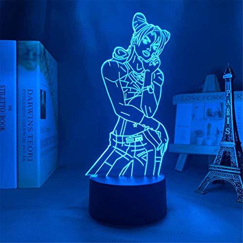 Illusione ottica 3D Jojo, bizzarra avventura, luce notturna con telecomando, regalo di compleanno per ragazze, regalo di compleanno per ragazze regalo di compleanno