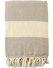 "Herringbone Bed Blanket King Size 100% Cotton, Soft & Breathable Cotton for All Seasons, Lightweight for Summer & Winter, Fringed, Boho, Oversized Throw Blanket (Beige, 80"" x 95"")"