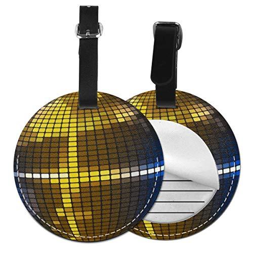 Kofferanhänger Inklusive Adressfeld, PU Leder Kofferschild, Gepäckschild für Koffer Tasche Rucksack Gold reflektierende Discokugel