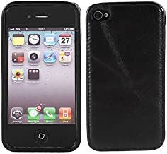 Zwarte PU Leather Cell Phone Pouch Case voor Apple iPhone 4G 4GS