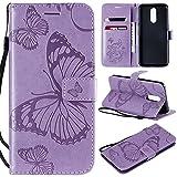 nancencen Handyhülle Kompatibel mit LG K40 / K12,Geldbörse PU Leder Flip Cover Schutzhülle Hülle Klapphalterungsfunktion -Einfarbig Schmetterling Lila
