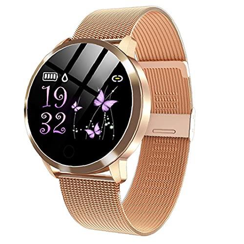 nJiaMe Relojes Inteligentes Q8 Impermeable de Pulsera Inteligente con la Correa del Metal de Prueba del Ritmo cardíaco del Contador de Paso del Ciclo Menstrual de la Mujer del Oro