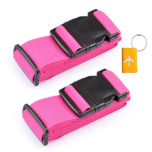 iToobe 2 Pcs Luggage Straps Adjustable 200cm Suitcase Straps Belts Travel Packing Belt Heavy Duty Security Rainbow Straps with Buckle Closure and Name Tag Slot Luggage Tag (Rose Red)