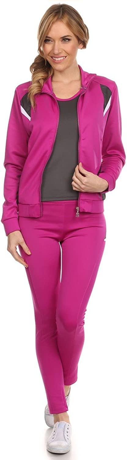 BB Jeans Women's 3 Piece Pink Tracksuit Jogging Pants Athletic Apparel