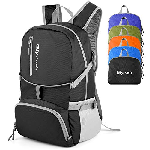 Glymnis 30L Lightweight Foldable Backpack Packable Rucksack Water Resistant Hiking Daypack for Men Women Kids Outdoor Travel School(Black)