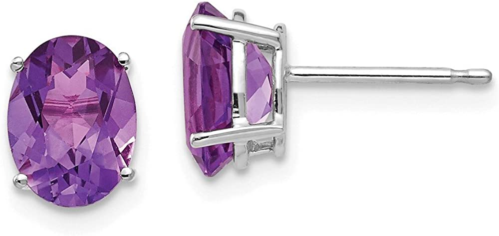 14k White Gold 8x6mm Oval Purple Amethyst Post Stud Earrings Birthstone February Gemstone Fine Jewelry For Women Gifts For Her