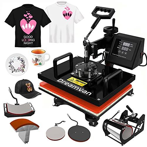 "5 in 1 Heat Press Machine, 12X15""Combo Digital Transfer Sublimation Machine for t Shirts, 360° Multifunctional Swing Away Tshirt Press Machine, Easy Press - Presser for T-Shirts Mug Hat/Cap Plate"