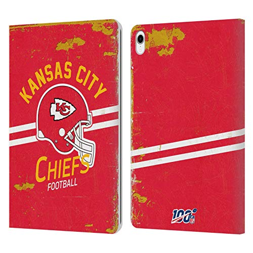 Head Case Designs Officially Licensed NFL Helmet Distressed Look 100th Kansas City Chiefs Logo Art Leather Book Wallet Case Cover Compatible With Apple iPad Pro 11 (2018)