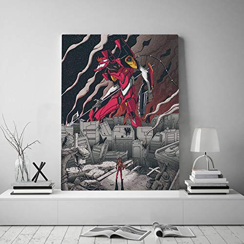 Tpqoaa Canvas Prints Artwork To Photo Paintings on Canvas Wall Art Unit-01 Tribute Asuka Langley Sohryu Poster 40x53cm For Home Decorations wall deco
