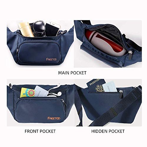 FREETOO Bum Bag Large Capacity Waterproof Waist Pack Bag Women Men Fanny Pack with Durable Zippered Pockets for Phone keys & Accessories Ideal for Outdoor Sport Hiking Walking Cycling