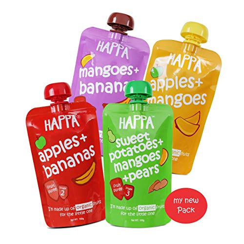Happa Organic Food for Little one, Fruit Puree (Apple+Mango, Mango+Banana, Apple+Banana, Sweet Potato+Mango+Pear) Stage 3, 4...