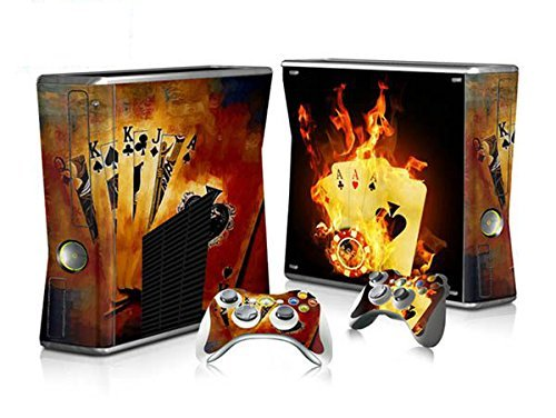 XBOX 360 Slim Skin Design Foils Sticker Set - Burning Cards Motivo