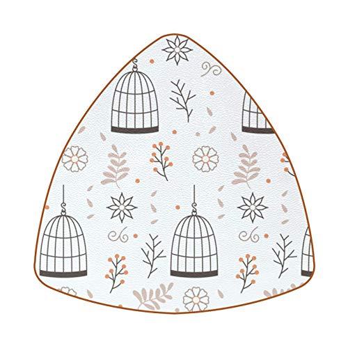 Posavasos triangulares para bebidas, jaula de pájaros colgante con flores, taza de cuero, para proteger muebles, resistente al calor, decoración de bar de cocina, juego de 6