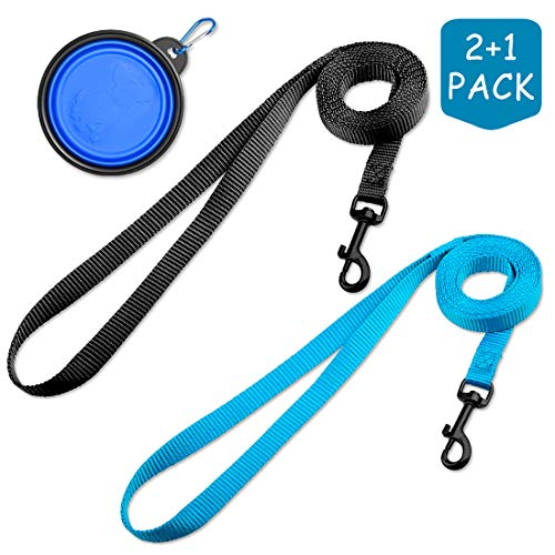 DOYOO 2 Pack Puppy Dog Leash Cat Leash, Strong and Durable Leash with Easy to Use Collar Hook - Dog Leashes for Cat with Collapsible Pet Bowl Great for Small and Medium Dog (Set 1-Black+Blue)