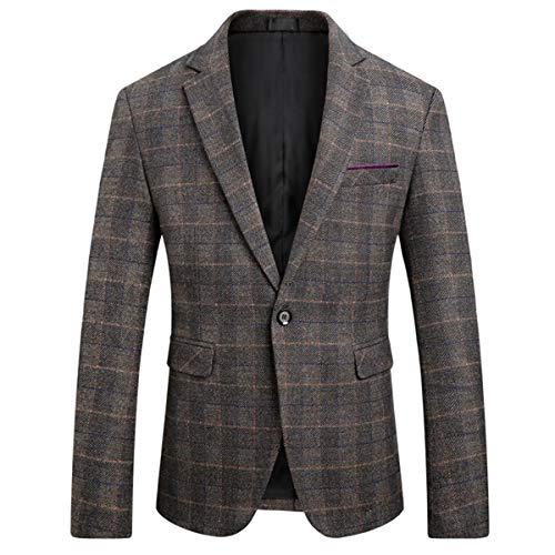 WULFUL Men's Suit Jacket One Button Slim Fit Sport Coat Casual Blazer Jacket (Wine Red1, 3XL)