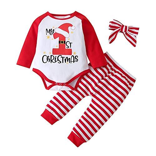 3 Piezas Conjunto Navidad Bebe Niño Niña Mi Primera Navidad Traje Manga Larga Mono+Pantalones+Sombrero Disfraces Navideños Bebes
