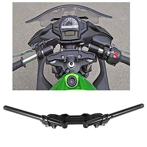 Qiilu Juego de Manillar, Placa adaptadora con Clip y Manillar para Motocicleta para Kawasaki Ninja 650R 2006-2011 650 2012-2016 ER-6F 2006-2016